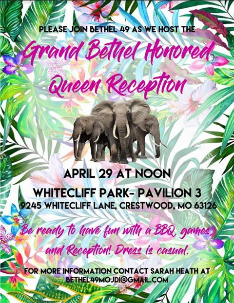 Reception for Grand Bethel Honored Queen @ Whitecliff Park -- Pavilion #3 | St. Louis | Missouri | United States