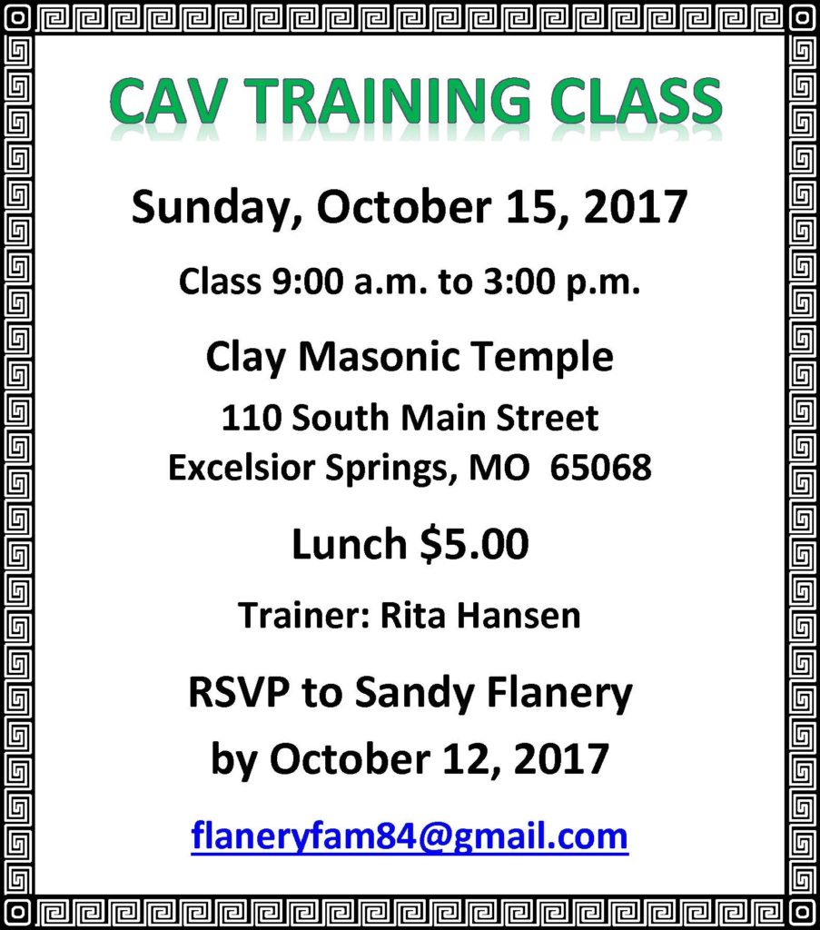 CAV Training Class-Excelsior Springs @ Clay  Masonic Temple | Excelsior Springs | Missouri | United States