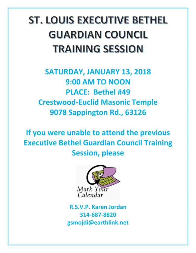 St. Louis Executive Bethel Guardian Council Training Session @ Crestwood-Euclid Masonic Temple   St. Louis   Missouri   United States