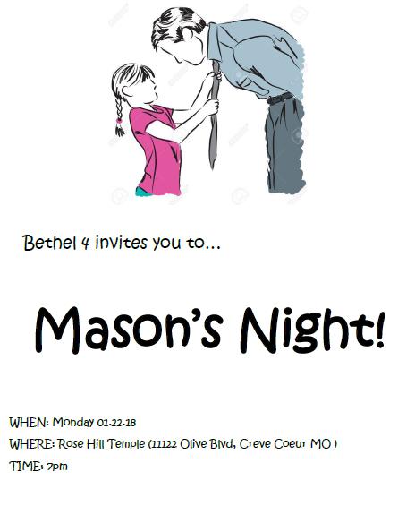 Bethel #4 Masons Night @ Rose Hill Masonic Temple   Creve Coeur   Missouri   United States