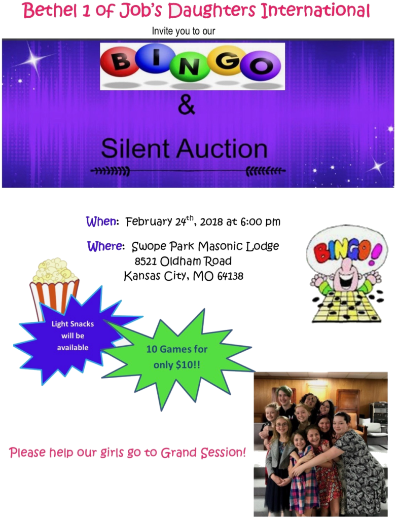 Bethel #1 Bingo And Silent Auction @ Swope Park Masonic Tenple | Kansas City | Missouri | United States